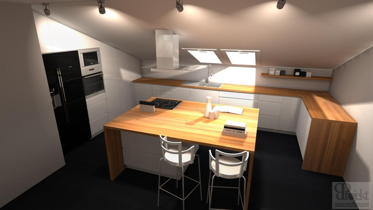 BasiaProjekt Kuchnie, Projekty Kuchni, Wizualizacje 3d   -> Kuchnie Na Poddaszu Aranzacje
